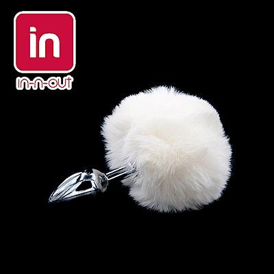 【in-n-out】(中號)兔尾巴毛毛球金屬後庭肛塞(3.4cm) 角色扮演