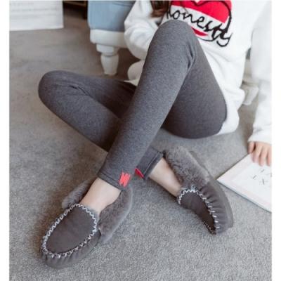 W字母加絨加厚保暖舒適彈性內搭褲XL-5XL(共二色)-KVOLL
