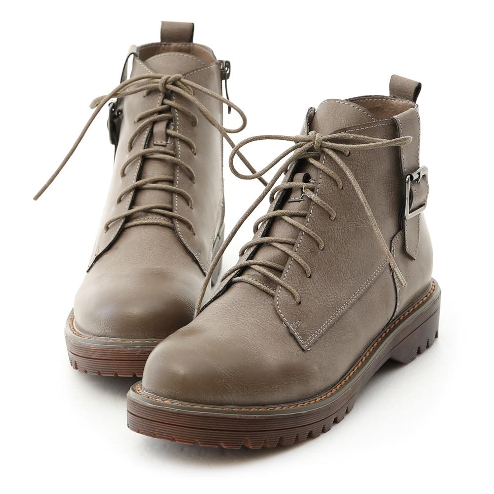 D+AF 個性酷感.釦環綁帶休閒馬汀短靴*灰