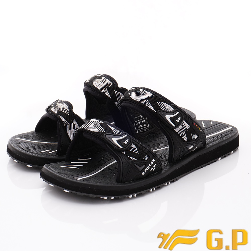 GP時尚涼拖  時尚織帶拖鞋款-ZE573M-81白黑(男段)