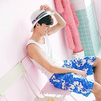 男款熱帶印花快乾海灘褲‧2色-OB大尺碼