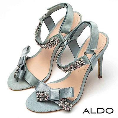 ALDO 原色緞面蝴蝶結璀璨水鑽魔鬼氈細高跟涼鞋~氣質水藍