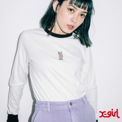 X-girl BUNNY EMBROIDERY L/S BABY TEE長袖T恤-白