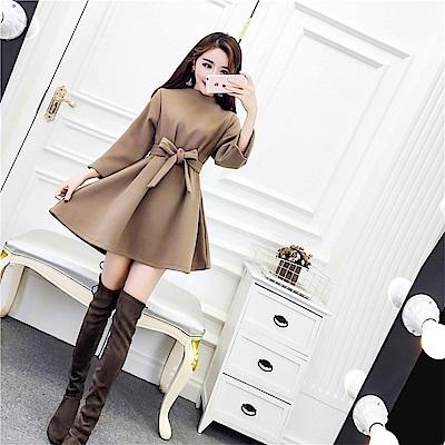 DABI 韓系寬松純色毛呢百搭氣質顯瘦長袖洋裝