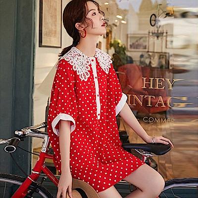 復古甜美波點縷空領衫洋裝-(紅色)Andstyle