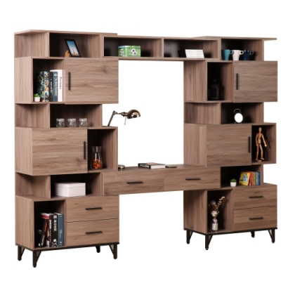 D&T 德泰傢俱 BROOK淺胡桃木可調整書櫃書桌組 寬250×深41.5×高196cm