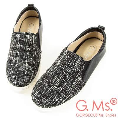 G.Ms. MIT系列-牛皮拚接格紋毛呢懶人休閒鞋-黑色