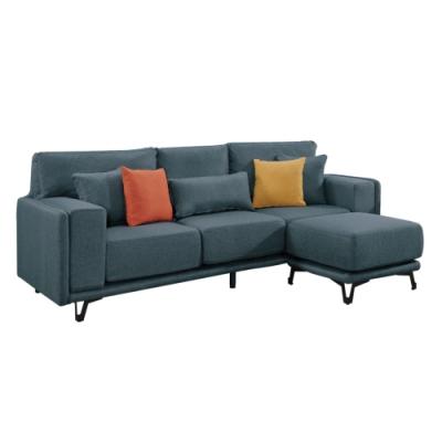 文創集 加比亞麻布獨立筒L型沙發組合(三人座+椅凳)-222x145x85.5cm免組