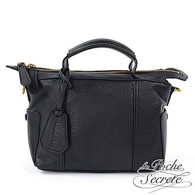La Poche Secrete側背包 簡約真皮素面荔枝紋手提側背包-百搭黑