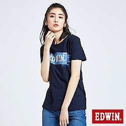 EDWIN 築地系列貓鬚洗色LOGO短袖T恤-女-丈青