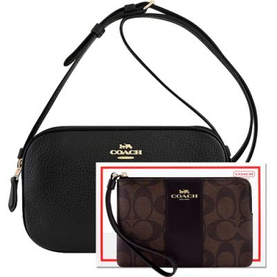 COACH 黑色荔枝紋皮革雙層斜背包+巧克力色大C PVC手拿包