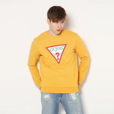 GUESS-男裝-撞色經典倒三角logo大學T-黃