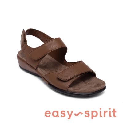 Easy Spirit-seHARTWELL 真皮舒適後繫帶休閒涼鞋-咖啡色