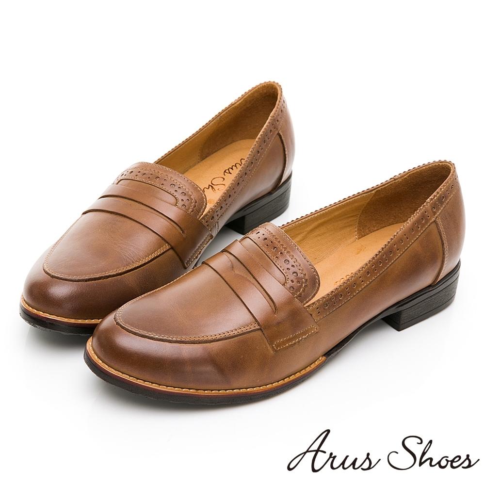 GDC-英倫氣質風真皮擦色簡約牛津低跟鞋-卡其色
