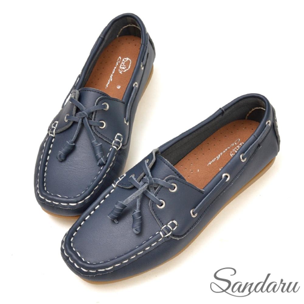 山打努SANDARU-全真皮柔軟車線綁結豆豆鞋-藍 (藍)