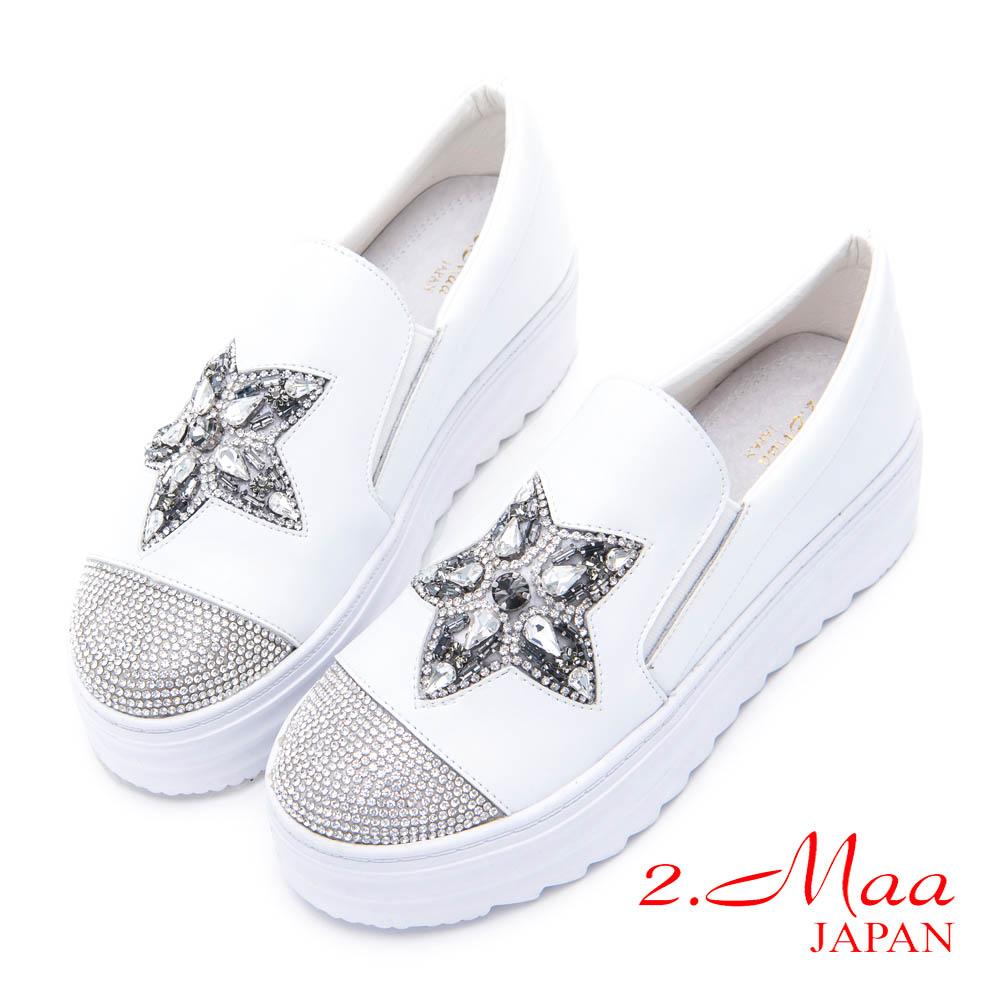 2.Maa - 流行貼鑽飾小圓頭牛皮便鞋 - 白