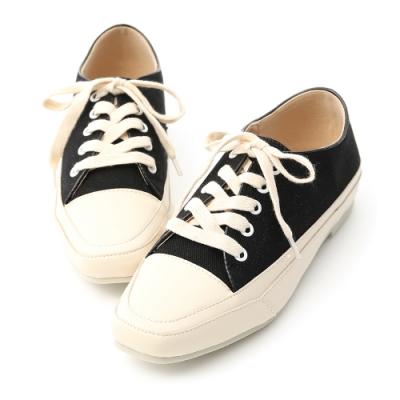 D+AF 自在首選.小方頭多色帆布休閒鞋*黑