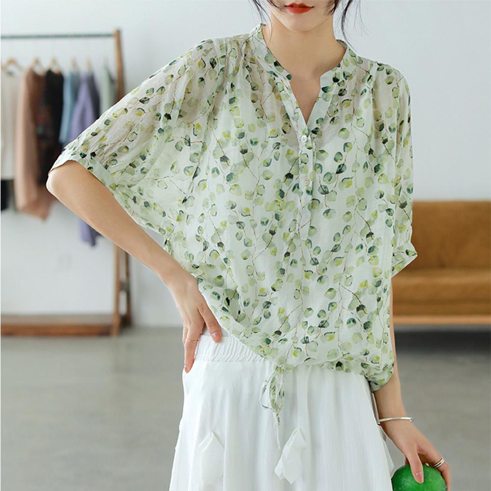 小V領半開襟印花襯衫輕薄天絲棉上衣三色可選-設計所在