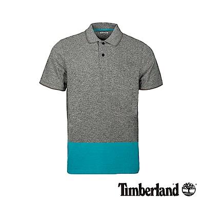 Timberland 男款灰x藍綠撞色短袖POLO衫|A1LZK