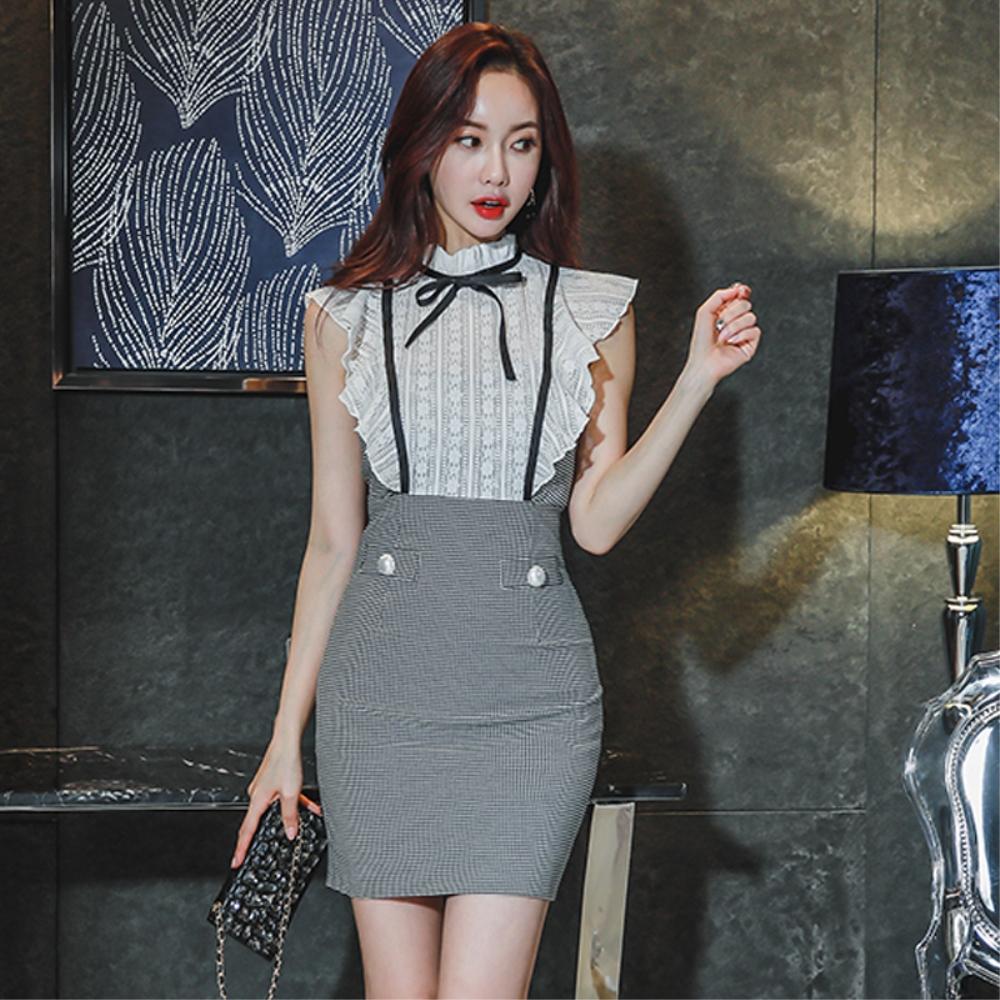 DABI 韓國風名媛蕾絲拼接假兩件千鳥格短袖洋裝