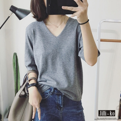 JILLI-KO V領半袖針織T恤- 紅/灰/咖/黑