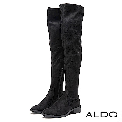 ALDO 原色靚黑內拉鍊式復古木紋粗跟尖頭膝上靴~尊爵黑色