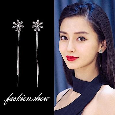 梨花HaNA 無耳洞韓國精緻閃耀太陽花卉流蘇長耳環夾式
