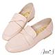 Ann'S超柔軟綿羊皮-素面扭結撞色車線兩穿穆勒平底紳士鞋-粉 product thumbnail 1