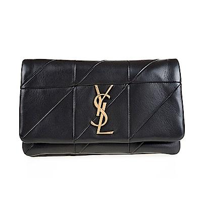 YSL 新款JAMIE縫線仿舊金釦羊皮斜揹/肩揹包 (黑色/小款)