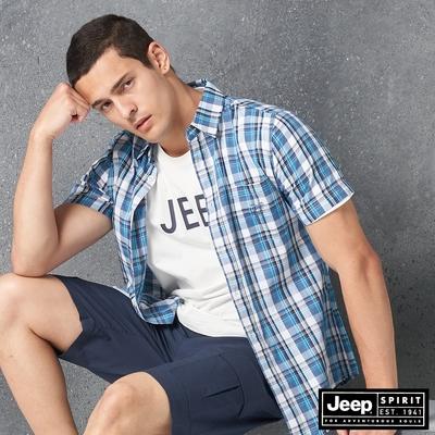Jeep 男裝 清新質感格紋短袖襯衫-藍色