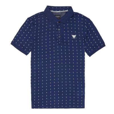 GUESS-男裝-滿版船錨Polo衫-深藍