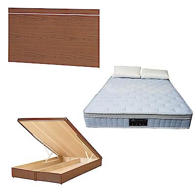 綠活居 梅娜6尺雙人加大床台三式組合(床頭片+後掀床底+天絲獨立筒床墊)五色可選