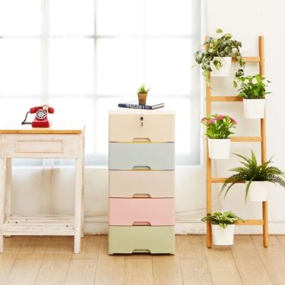 【ikloo】馬卡龍寬版五層收納櫃