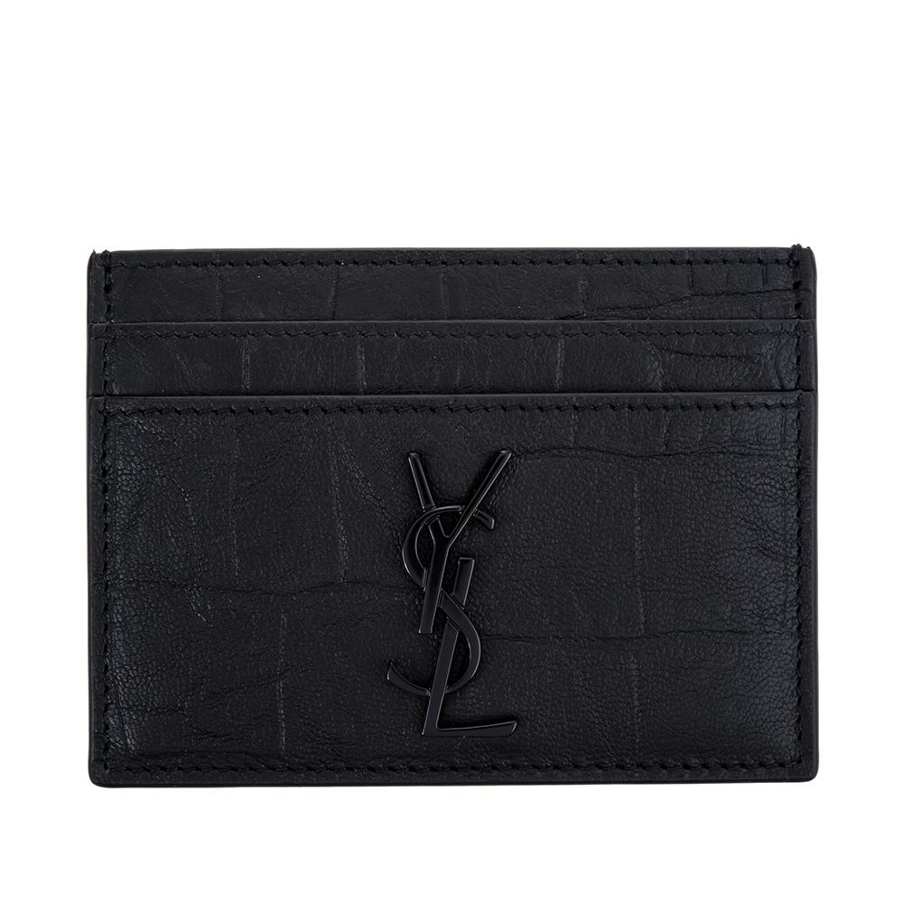 YSL 新款牛皮壓鱷魚紋YSL黑字金屬名片夾 (黑色)