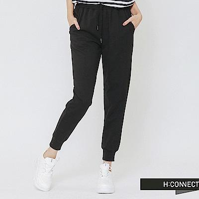 H:CONNECT 韓國品牌 女裝-束口設計休閒棉褲-黑