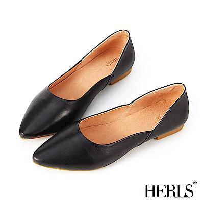 HERLS 極簡美學 全真皮側斜口尖頭平底鞋-黑色
