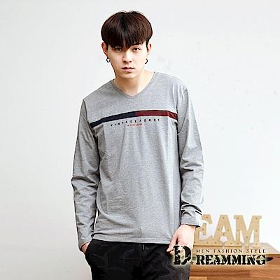 Dreamming 簡約拼接萊卡彈力長袖V領T-共二色 @ Y!購物