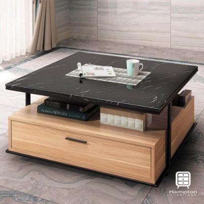 漢妮Hampton韋伯系列原木石面大方几-90*90*44.5 cm