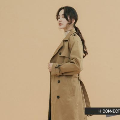 H:CONNECT 韓國品牌 女裝-雙排扣腰帶造型風衣外套-棕