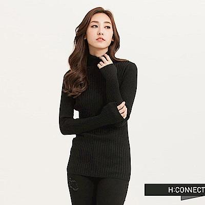 H:CONNECT 韓國品牌 女裝-粗羅紋高領針織上衣-黑(快)