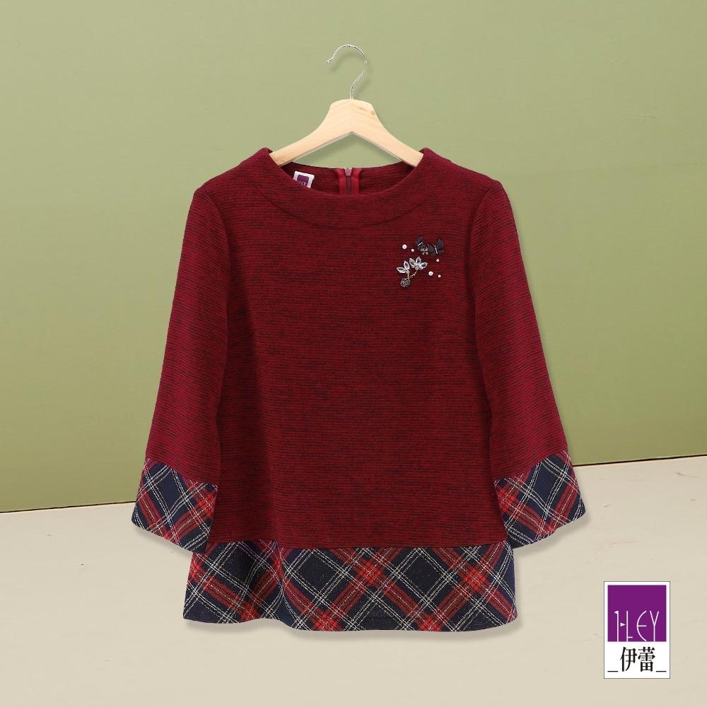 ILEY伊蕾 優雅鑽飾假兩件針織上衣(紅)
