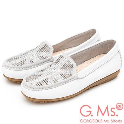 G.Ms. MIT系列-英倫造型燙鑽軟Q牛皮莫卡辛豆豆鞋-白色
