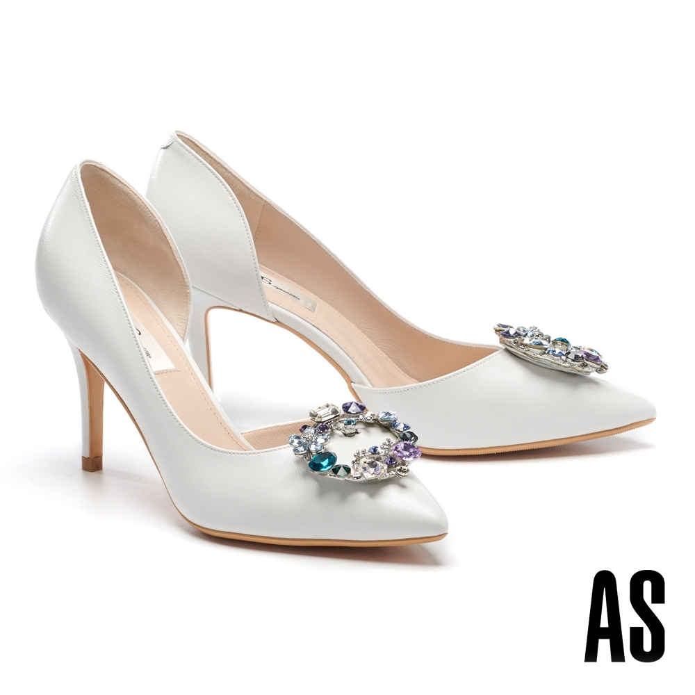 高跟鞋 AS 繽紛鑽釦側空造型羊皮美型尖頭高跟鞋-白