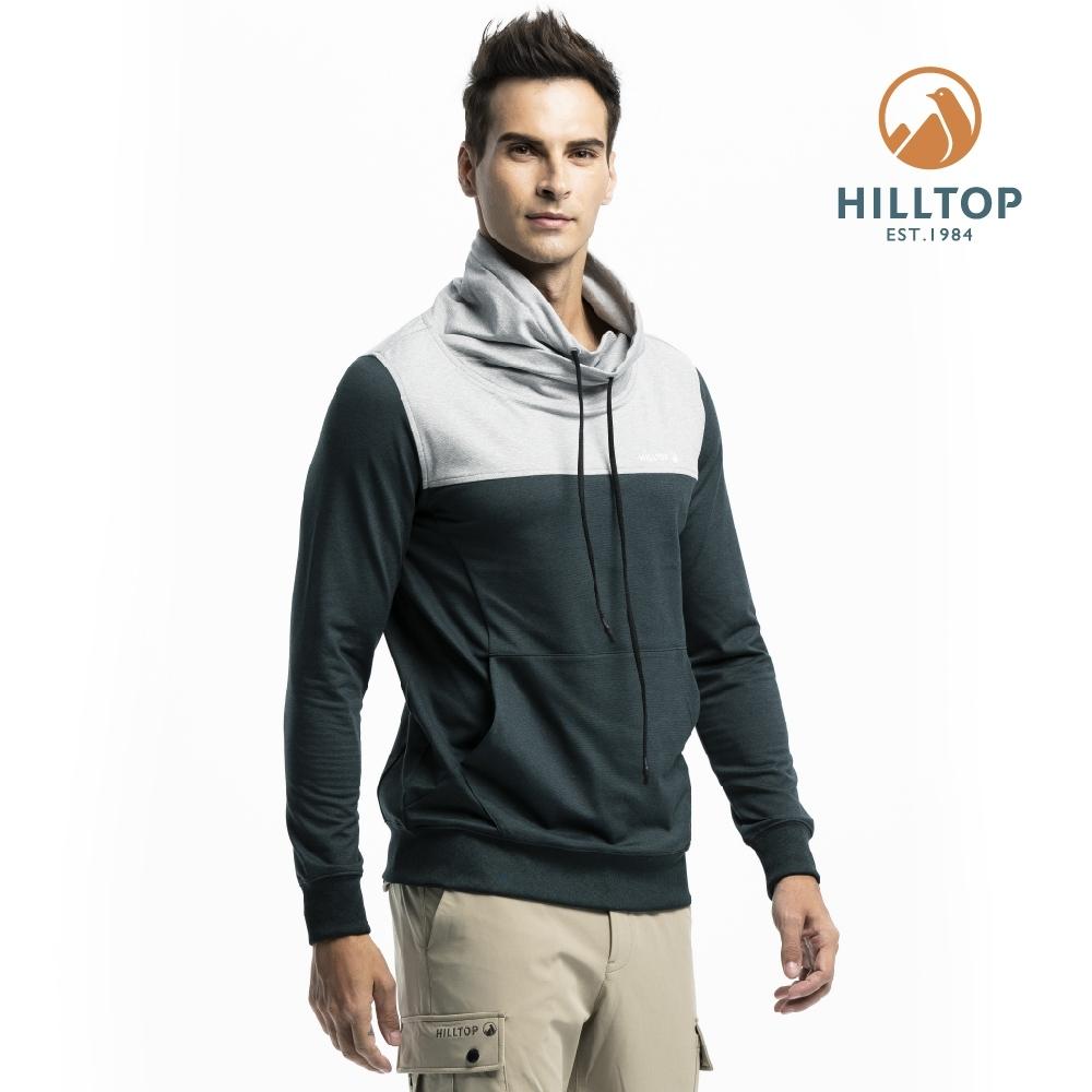 【hilltop山頂鳥】男款吸濕快乾彈性抗菌刷毛保暖上衣H51MI5灰綠