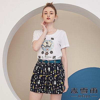 【麥雪爾】純棉奇幻星象珠飾短袖上衣