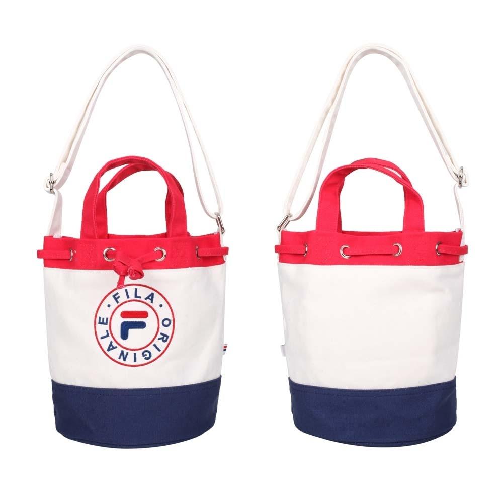 FILA 水桶兩用側背包-帆布 手提包 斜背包 隨身包 肩背包 BMV-3003-WT 白紅藍