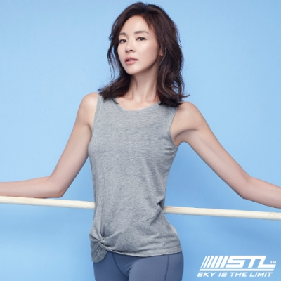 STL Yoga SS Essence side twist 韓國 瑜珈運動機能 無袖背心上衣 本質扭結灰