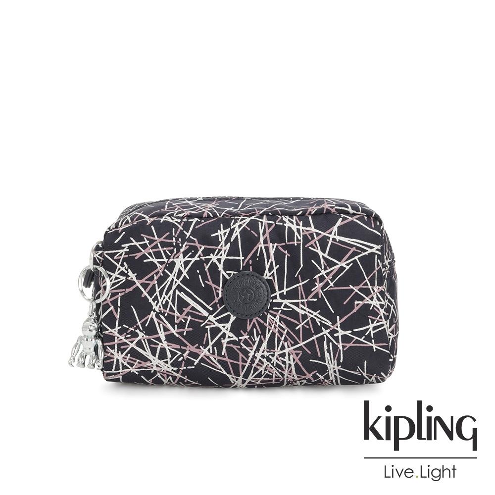 Kipling 英式粉白漆塗鴉長形化妝包-GLEAM