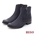 BESO 簡約知性 流蘇綴飾擦色牛皮短靴~藍