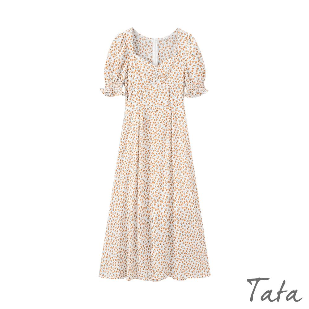 裝飾包釦小V領碎花洋裝 TATA-(S~L)